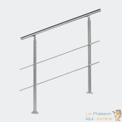 Rampe d'escalier sur pied 100 cm en inox 2 barres. Main courante