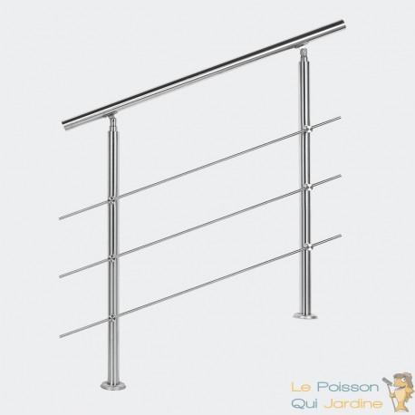 Rampe d'escalier sur pied 80 cm en inox 3 barres. Main courante -060092