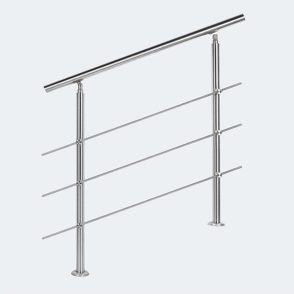Rampe D'Escalier Sur Pieds 80 cm En Acier Inoxydable 3 barres.
