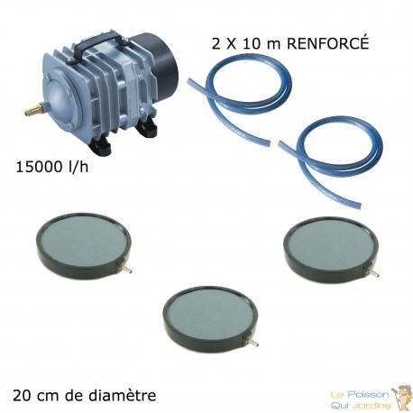 Set aération bassin de jardin 3 plaques 20 cm de 25000 à 30000 litres
