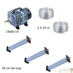 Set aération bassin de jardin 3 diffuseurs 30 cm de 25000 à 30000 litres