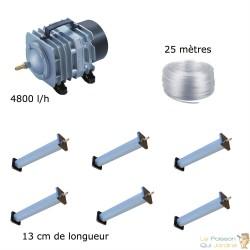 Set aération bassin 4800 l/h 6 diffuseurs 13 cm de 10000 à 15000 litres