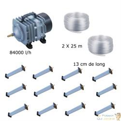 Set aération bassin de jardin 8400 l/h 12 diffuseurs 13 cm de 15000 à 20000 litres
