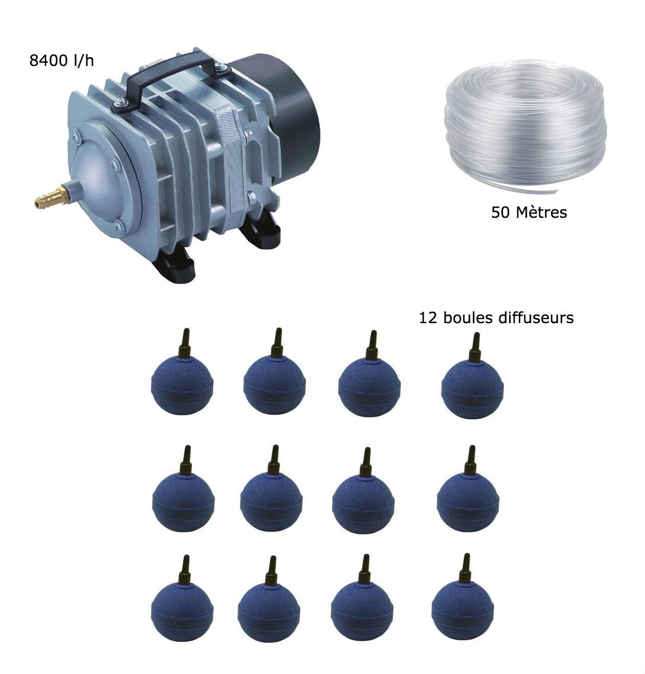 Set aération bassin de jardin 8400 l/h 12 boules de 15000 à 20000 litres