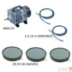 Set aération bassin 4800 l/h 3 diffuseurs 20 cm de 10000 à 15000 litres