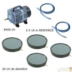 Set aération bassin de jardin 8400 l/h 4 plaques 20 cm de 15000 à 20000 litres