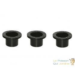 Lot de 3 connecteurs bâche - passe paroi PVC 50 mm pour bassin de jardin