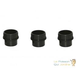 Lot de 3 : Passe paroi à visser PVC 50 mm pour bassin de jardin et étang