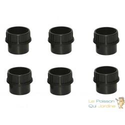 Lot de 6 : Passe paroi à visser PVC 40 mm pour bassin de jardin et étang