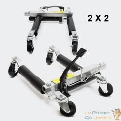 Lot de 2 : Déplace voiture, jack ou crics hydraulique pour déplacer facilement une auto