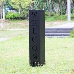 Colonne Décorative Pour Jardin En Métal Rouillé inscription Welcome