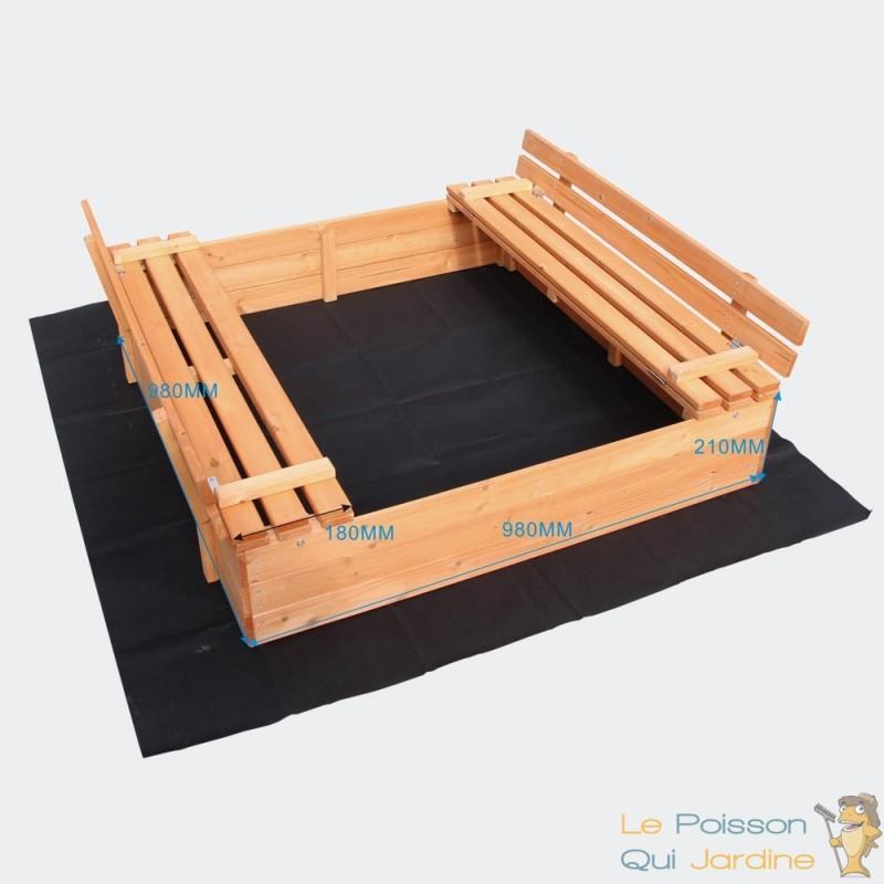 bac sable 2 bancs pour jeu de jardin 051063 le poisson qui jardine. Black Bedroom Furniture Sets. Home Design Ideas