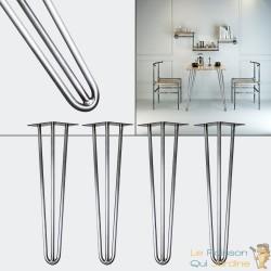 4 pieds de table couleur acier de 60 cm de haut. Look et design loft