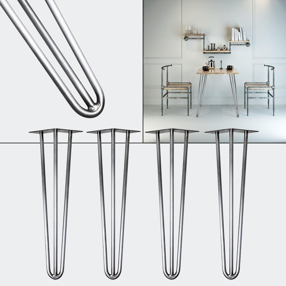 4 Pieds De Table Couleur Acier De 60 cm De Haut. Design Loft Et Industriel