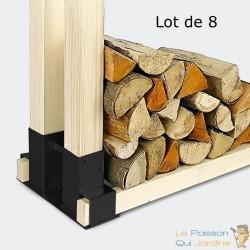 8 supports en métal pour rangement du bois de chauffage