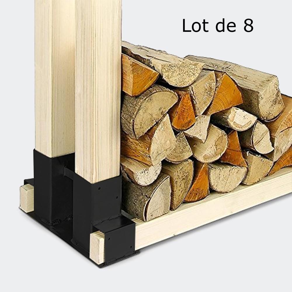 8 Range Bûches Supports En Métal Pour Rangement Du Bois De Chauffage
