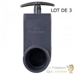 Lot de 3 : Vanne Guillotine PVC 50 mm pour bassin de jardin
