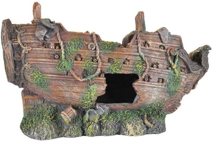 Bateau décoration pour aquarium : 26 cm de long. Pour eau douce, de mer ou eau froidev