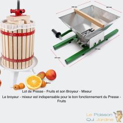 Lot De Presse - Fruits Manuel En Bois De 12 Litres + Broyeur Mixeur. pressoir à fruits de qualité