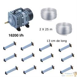 Set aération bassin de jardin 12 diffuseurs 13 cm de 25000 à 30000 litres