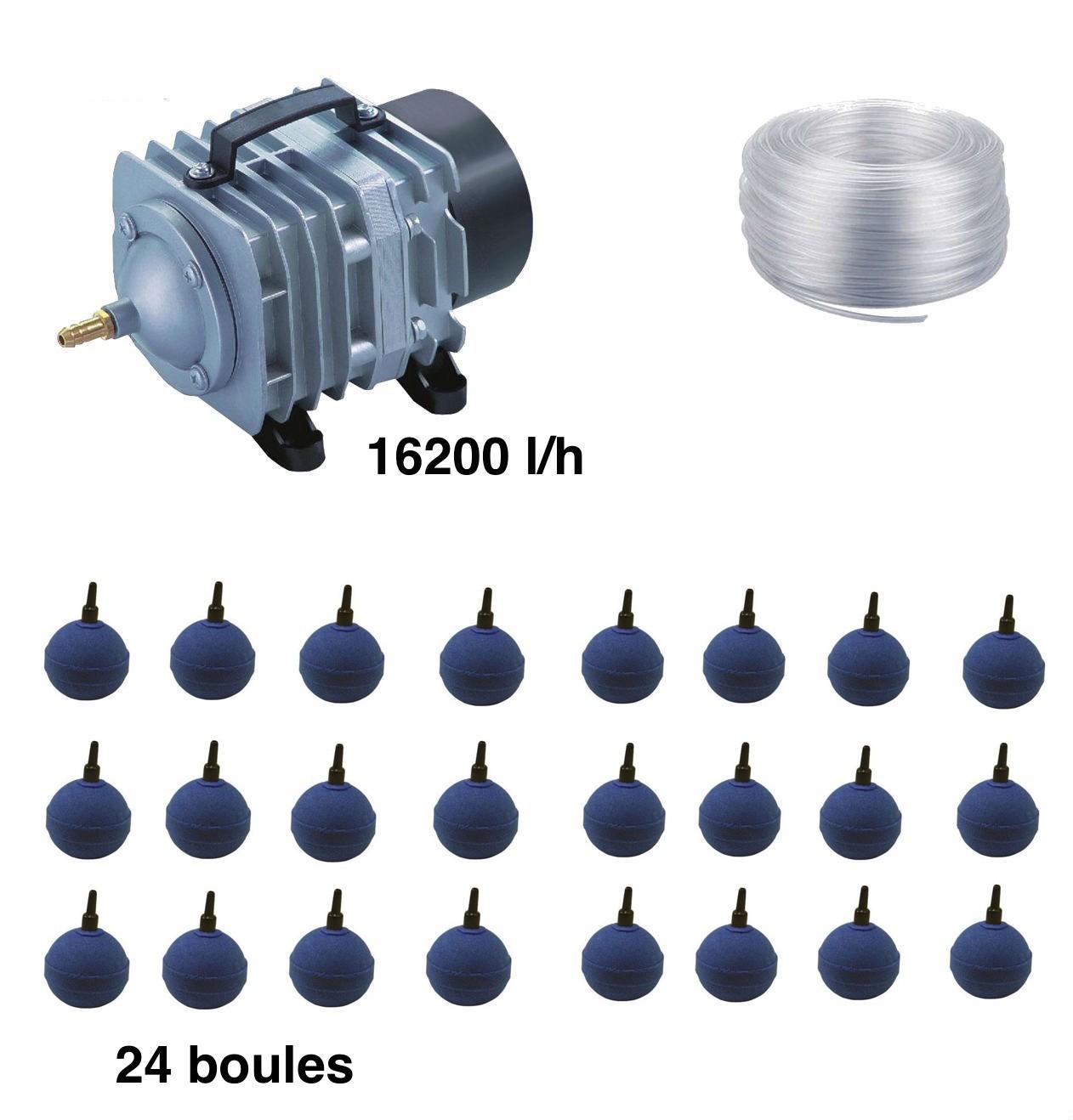 Set aération bassin de jardin 24 boules de 30000 à 50000 litres