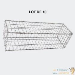 Lot de 10 : Gabion En Métal Galvanisé - Robuste - Résistant - 100 x 30 x 30 cm