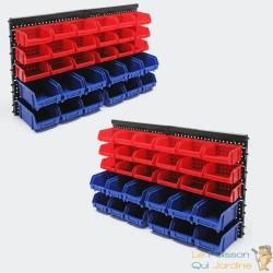 Lot De 2 Étagères Bacs De Rangement Rouges Et Bleus Vis, Clous 30 Boîtes
