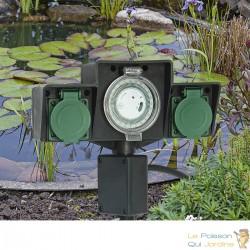 Multiprise étanche à planter 2 Prises + Minuterie pour bassins de jardin, massifs de fleurs.