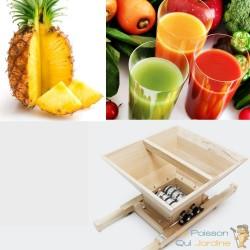 Presse-Fruits Manuel En Bois De Chêne À Manivelle, Capacité : 7 Litres