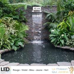 Cascade - Lame D'Eau 40 cm Inox + Led Couleur Pour Bassin De Jardin
