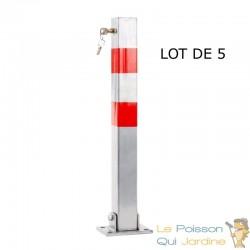 Lot de 5 Barrières bloque parking et de stationnement. 70 cm