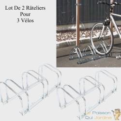Rangement - râtelier 3 vélos avec fixation au sol - Longueur 71 cm -  Rack 1 niveau