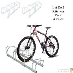 Lot De 2 :  Rangement - Râtelier 4 Vélos Avec Fixation Au Sol - Longueur 96 cm - Rack 1 niveau