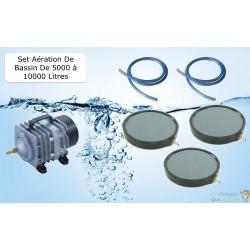 Set aération bassin 4200 l/h 3 diffuseurs 20 cm de 5000 à 10000 litres