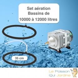 Set aération avec 2 Diffuseurs Poreux 35 cm pour bassin de jardin de max.12 m³ ( 12000 litres )