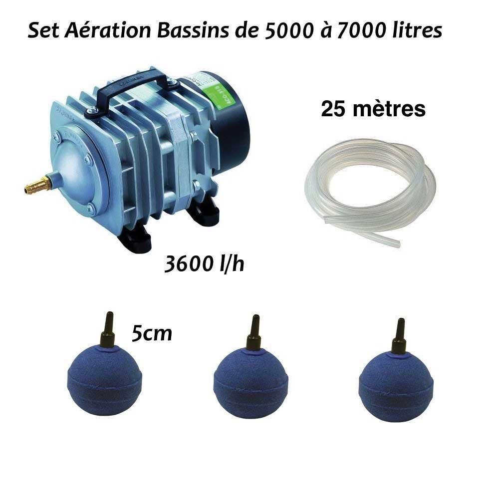 Set aération bassin de jardin de 5000, 6000 et 7000 litres + aérateur