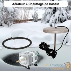 Lot Chauffage Bassin 150W + Set Aération Pompe 3600 l/h 1 diffuseur 35 cm