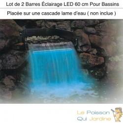 2 Barres Éclairage LED 60 cm Pour Bassins Et Cascades De Jardin. Étanche