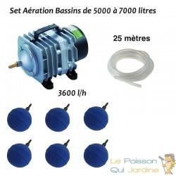 Set aération 6 boules bassin de jardin de 5000 à 7000 litres