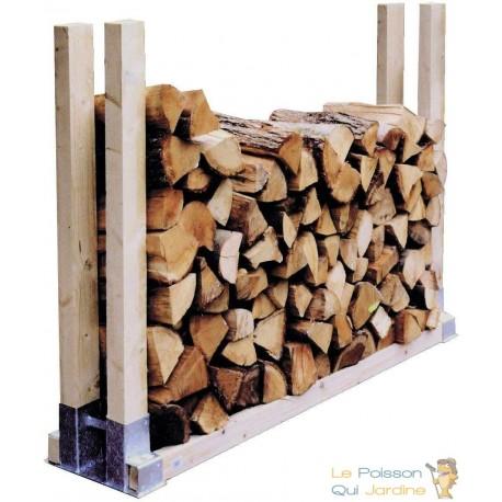 2 supports en métal pour rangement du bois de chauffage