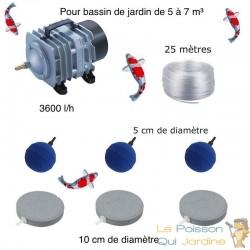 Set aération bassin 3600 l/h 3 Disques 10 cm + 3 boules de 5 à 7 m³