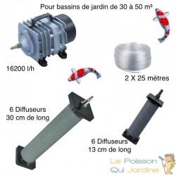 Set aération 6 diffuseurs 30 cm + 6 Diffuseurs 13 cm bassin de jardin de 30 à 50 m³