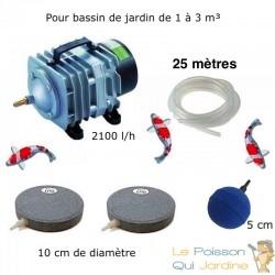 Set Aération 1 boule diffuseur + 2 disques 10 cm Bassin De Jardin De 1000 À 3000 Litres