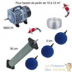 Set aération bassin de jardin 3 boules +  1 diffuseurs 30 cm de 10000 à 12000 litres
