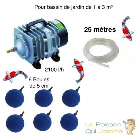 Set aération bassin de jardin de 1000 à 3000 litres. Inclus 6 diffuseurs boule. Meilleure Vente