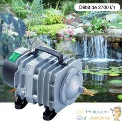 Compresseur aérateur de bassin de jardin : Débit de 2700 l/H pour bassin de 5000 à 7000 litres