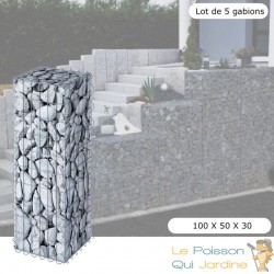 Lot de 5 : Gabion En Métal Galvanisé - Robuste - Résistant - 100 x 50 x 30 cm