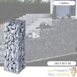 Gabion En Métal Galvanisé, Robuste, Résistant, 100 x 30 x 30 cm