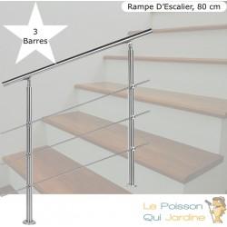 Rampe D'Escalier Sur Pied, 80 cm, En Acier Inoxydable, 3 barres.
