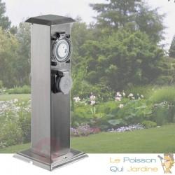 Multiprise Borne Inox 2 Prises Électriques Et Minuterie Pour Jardin Et Extérieur